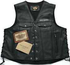 vtg USA mens harley davidson leather vest 2XL XXL black piston snap lace up bar