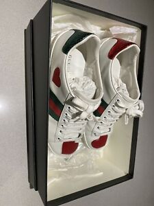 Gucci White Heart Ace Sneakers | Size 34.5