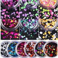 Runde Nail Art Glitter Mix Pailletten Pigment Acryl UV Gel Tipps Maniküre DIY