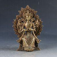 Chinese Brass Tibetan Buddhism Handwork Carved Kwan-Yin Statue