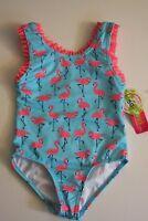 Penelope Mack Little Girls Green Blue Pink Flamingo 1 Pc Swimsuit Swim 4/6 NWT