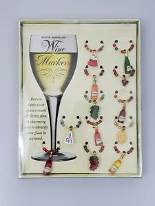 Boston Warehouse 12 Wine Charm Markers Assorted Cute Designs