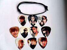 JUSTIN BIEBER   Guitar Pick Waxed Cord Adjustable Bracelet Ten  To Choose