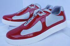 New Prada Men's Tennis Shoes Sneakers Size 9 Red Vernice Bike Calzature