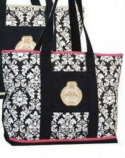 Equine Couture Tote Bag Black Damask