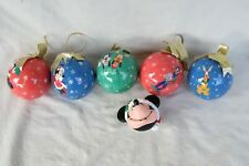 6 DISNEY CHRISTMAS ORNAMENTS, 5 VINTAGE BALL STYLE, 1 PLASTIC MINNIE HEAD.