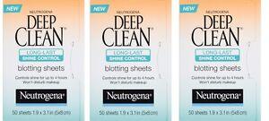 Lot of 3 New Neutrogena Deep Clean Long-Last Shine Control Blotting Sheets 50 ct