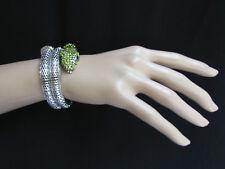 Snake Head Wrap Black Green Rhinestone New Women Bracelet Fashion Silver Metal