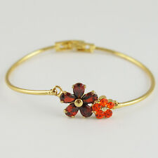 14k Gold GF red crystals flower bangle bracelet with Swarovski elements