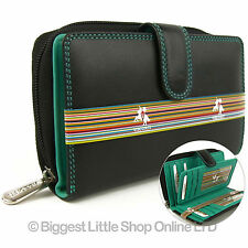 NEW Ladies Soft LEATHER Purse Wallet by Visconti Designer Black Aqua GIFT Boxed
