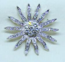 "Vintage Sparkling Icy Clear Rhinestone Starburst 2"" Brooch Pin"