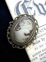 Antique Bronze Gothic Steampunk Victorian Lady Mink Cameo BROOCH Pin vintage