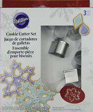 Snowflake Christmas 3 pc Metal Cookie Cutter Set from Wilton #0572 - NEW