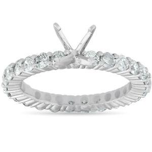 1 1/2ct Diamond Eternity Mount Engagement Ring Setting 14k White Gold