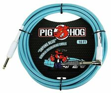 """Pig Hog PCH10DBR 1/4"""" Straight to 1/4"""" Right-Angle Daphne Blue Instrument Cable,"""