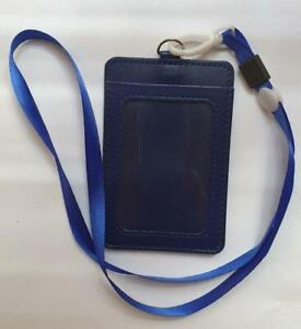 Leather Wallet Work Office ID Card Credit Card Badge Holder Lanyard 2 Slots UK