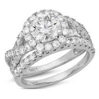 2.2ct Round Cut Halo Bridal Engagement Wedding Ring Band Set 14k White Gold