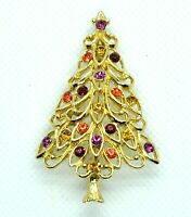Pin Christmas Tree Brooch Gold Tone Loops Rhinestone Red Gold Purple Vintage