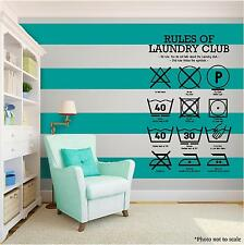 RULES OF LAUNDRY Vinyl Wall Art Wall Quote Home Room Decor Decal Word Phrase