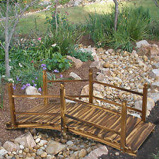 Wooden Bridge 5' Stained Finish Decorative Solid Wood Garden Pond Bridge New