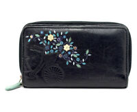 Bailey and Quinn Medium Size Leather Womens Wallet with Snap Closure Black