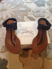Burberry Sz 39 Brit Sandals Kington Flat Plaid Denim Thong $450