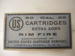 Rare Original US Cartridge Ammunition Box 50 22 Extra Long Rim Fire Empty