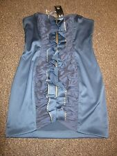 BNWT UK 16 £50 River Island Dress Satin Feel Midnight Blue Strapless Frill Sexy