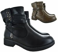 LADIES WOMENS FLAT CHELSEA ANKLE CASUAL SLIP ON BUCKLE SHOES BOOTS SIZE 3-8 NEW