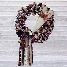 Americana Patriotic Cloth Rag Wreath with Americana Wood Heart