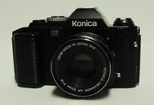KONICA FS-1 35mm SLR Film Camera w/1.8 50mm Hexanon AR Lens Tested Working