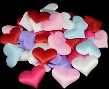 50/100 Padded Satin Fabric Love Hearts Weddings Craft Embellishments 35mm x 33mm