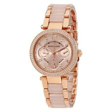 MICHAEL KORS MINI PARKER CHRONOGRAPH WOMENS WATCH MK6110 ROSE DIAL RRP £259.00