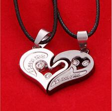 Homens Mulheres amante de Aço Inoxidável Casal Colar Coração Eu Te Amo pingente de presente H