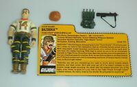 1988 GI Joe Tiger Force Bazooka v2 Figure Missile Specialist File Card *Complete