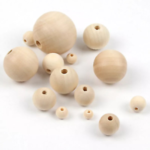 100 8mm Natural Wooden Round Beads for Macrame and Crafts