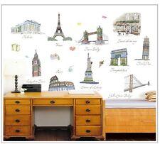 Monde landmark paris rome londres USA mur Stickers Autocollants Maison Décor Art Mural