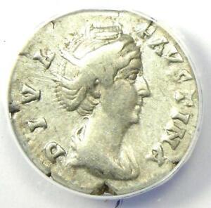 Diva Faustina AR Denarius Silver Roman Coin 147 AD - Certified ANACS VF25