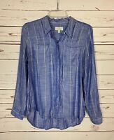 Lucky Brand Women's S Small Blue Striped Button Long Sleeve Top Blouse Shirt