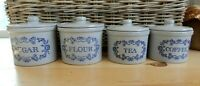 VINTAGE FRENCH FARMHOUSE STONEWARE KITCHEN CROCK CANISTER BLUE FLOWERS