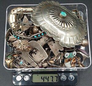 447.7 Grams Sterling Silver Scrap Repair Mixed Jewelry Lot