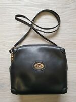 Authentic Vintage 80's RARE Gucci Crossbody Shoulder Bag Black Leather GG Logo