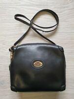 Authentic Vintage 80's RARE Gucci Crossbody Shoulder Bag Black Leather GG Logo