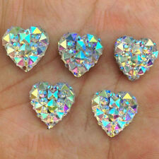 100Pcs Nail Art 3D Silver Heart Shape Faced Flat Back Resin Charm Beads DIY 10mm