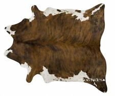 Brindle White Belly Brazilian Cowhide Rug Cow Hide Area Rugs Leather Size XL