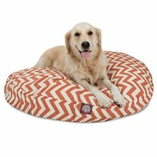 New listing Burnt Orange Chevron Large Round Indoor Outdoor Pet Dog Bed With Removable Wa.