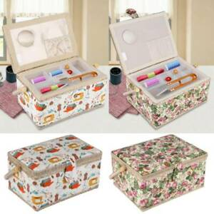 Vintage Style Fabric Sewing Box Chic Flower Printed Storage Cantilever Case Kit