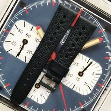 22mm Black Leather Perforated Watch Strap Band Made For Tag Heuer Monaco Corfam