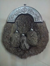 Mens Scottish Kilt Sporran Grey Rabbit Fur Celtic Knot Cantle/Dress Kilt Sporran