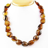 Exclusive 708.50 Cts Natural Untreated Brown Onyx Beads Single Strand Necklace